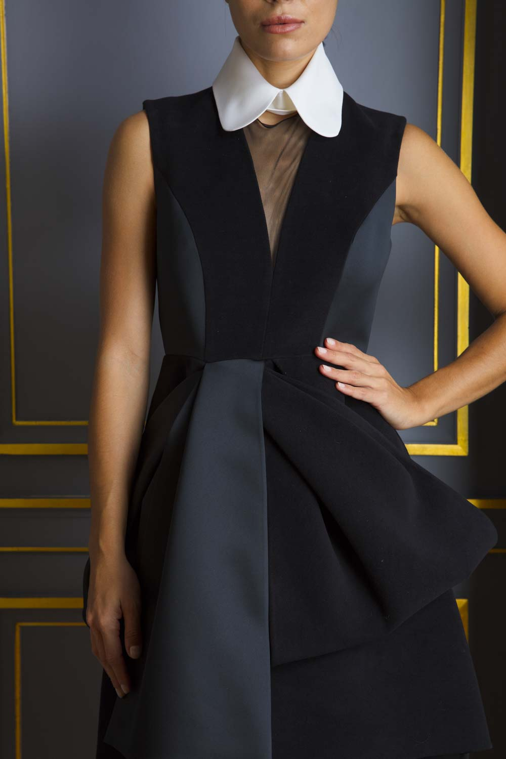 Sculptural fit-and-flare dress with white collar