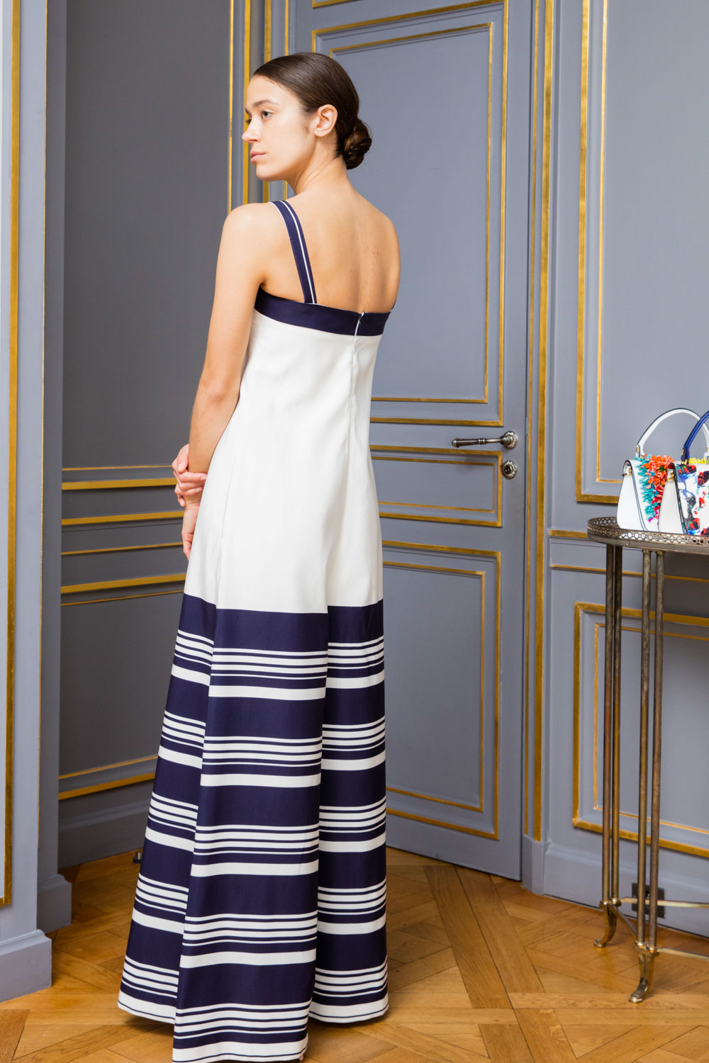 Navy and white striped ultra-wide-leg jumpsuit