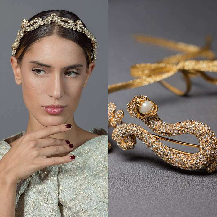GOLD METAL SINGLE STRAND HEAD PIECE DECORATED WITH SNAKE DESIGN IN SWAROVSKI CRYSTALS AND PEARLS