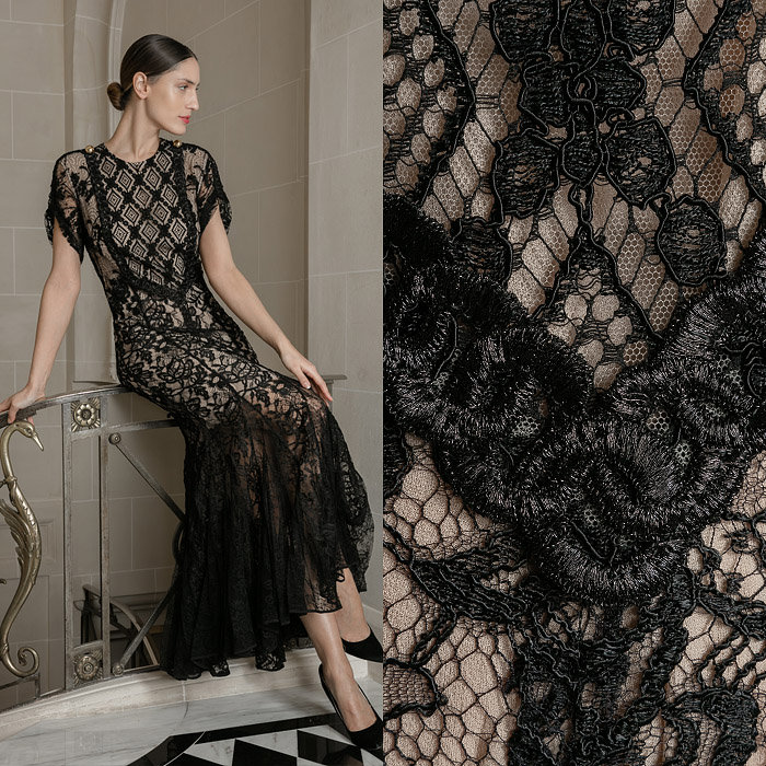 Black floor-length lace gown