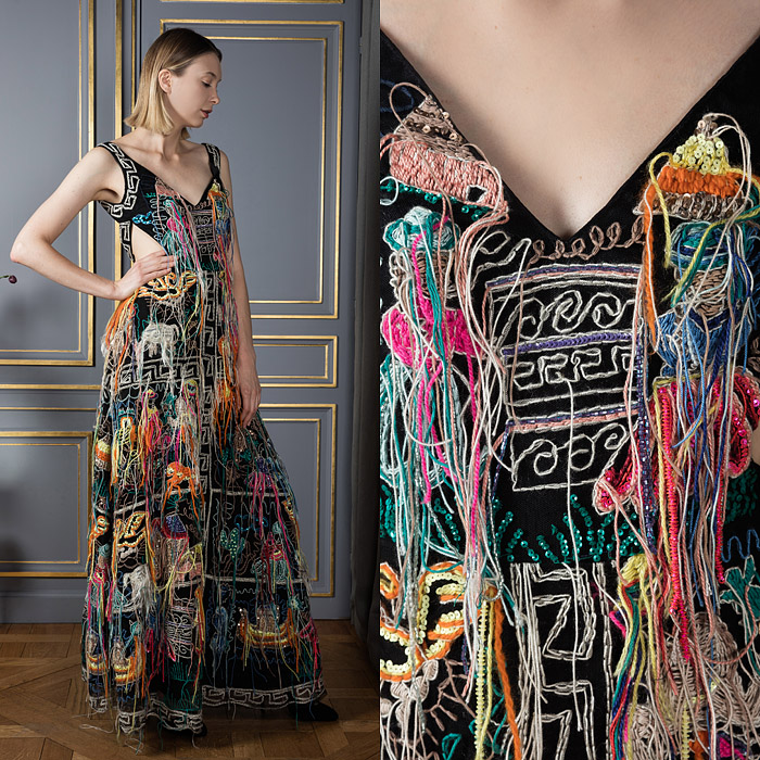 Handmade floor-length statement dress