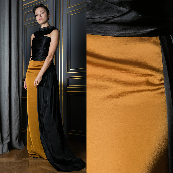 Floor-length black and gold gown