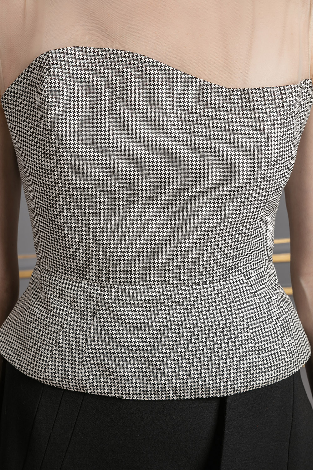 Grey top with sheer shoulders
