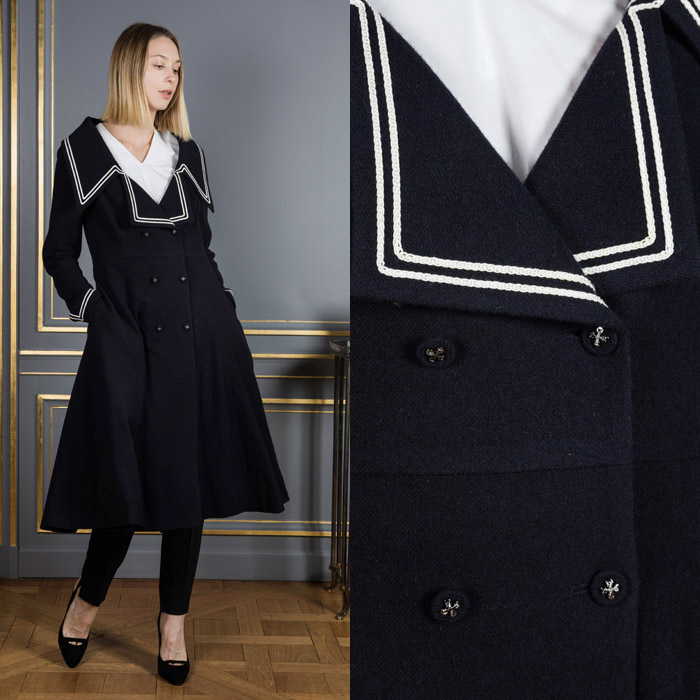 Dark blue double breasted coat
