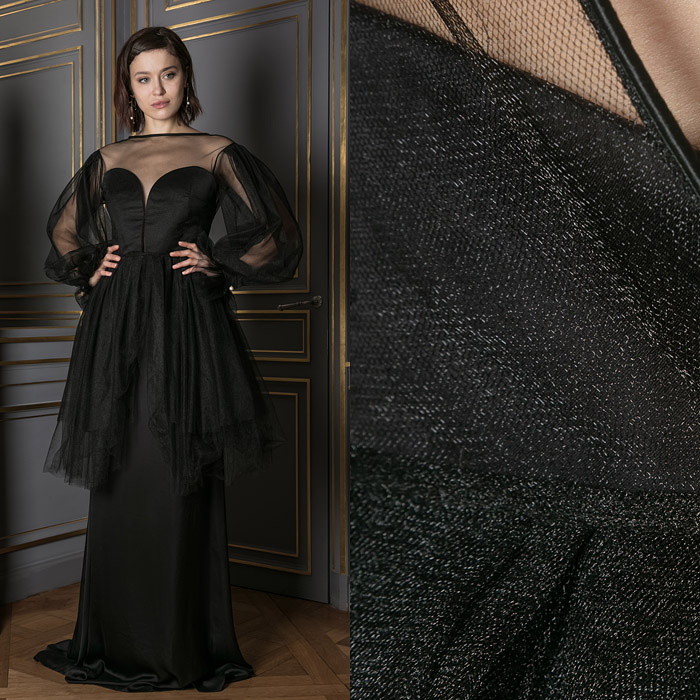 Floor-length strapless black dress