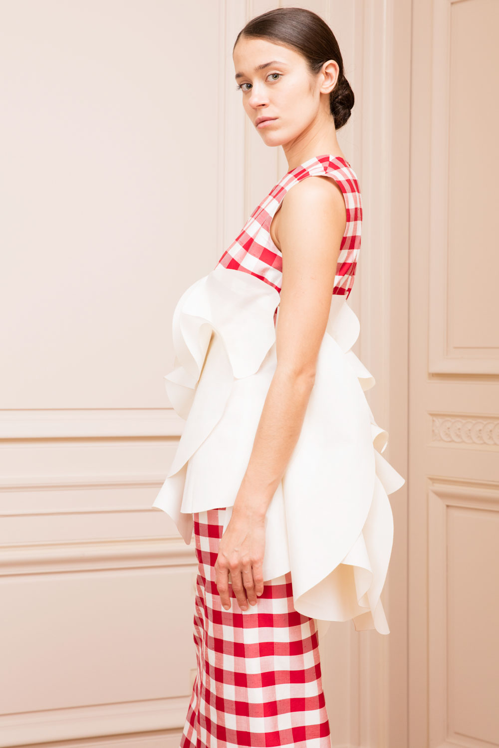 Silk Gingham Sheath Dress with Wraparound Ruffles