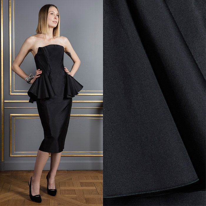 Pitch black strapless cocktail dress
